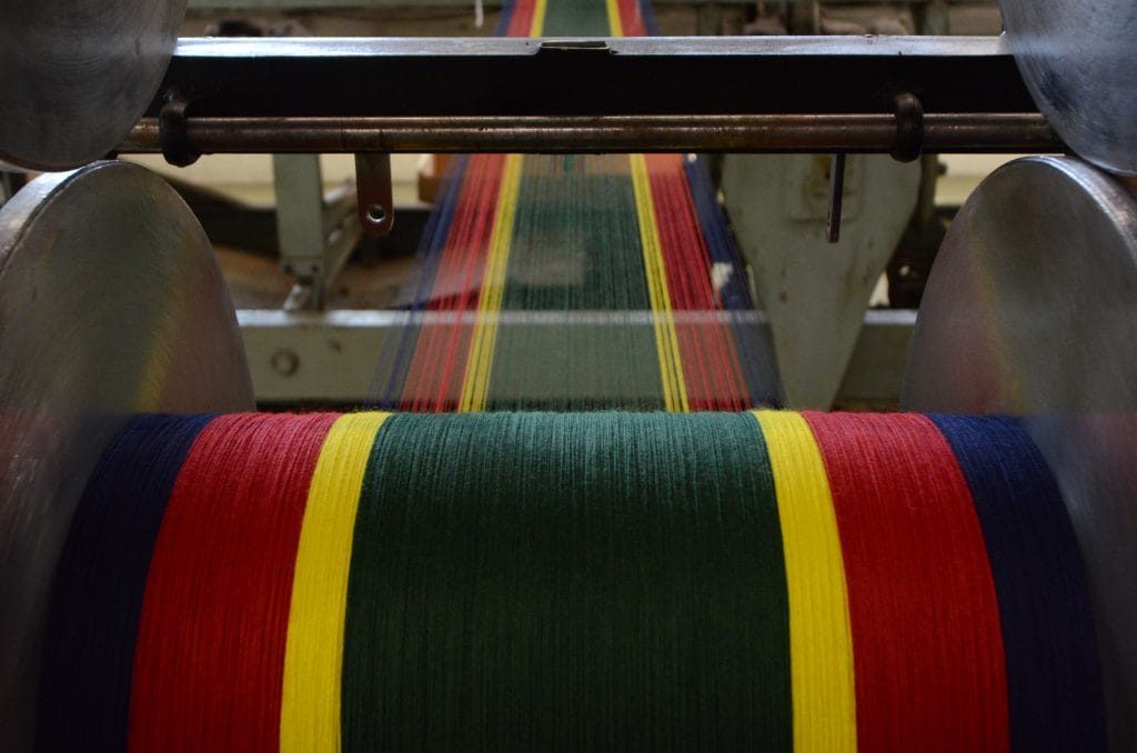 Cotton yarn warped and ready to weave